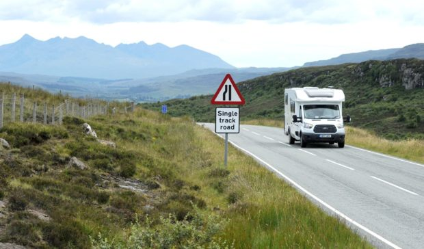 A motorhome on the  A855. Picture by Sandy McCook.