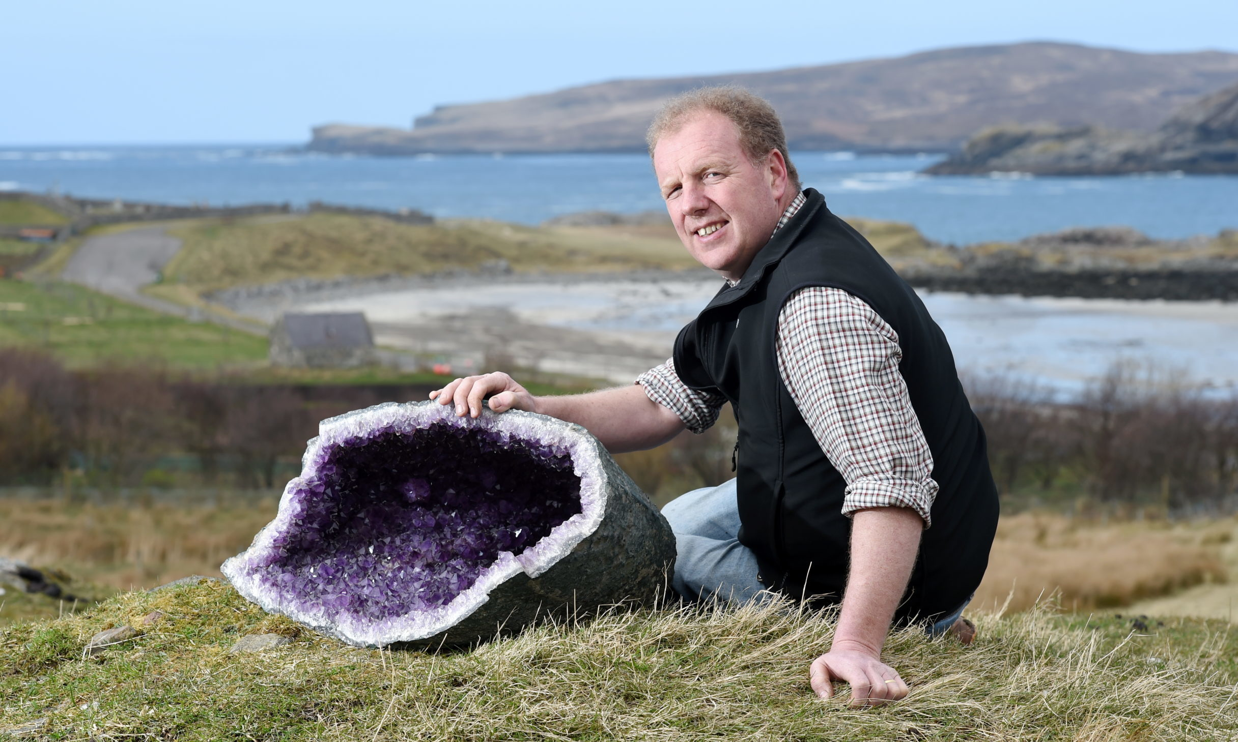 Neil MacDonald, chairman of the Scourie Community Development Company with some of the geological exhibits which they plan on displaying in a new exhibition building being planned for the village above Scourie Bay. Picture by Sandy McCook