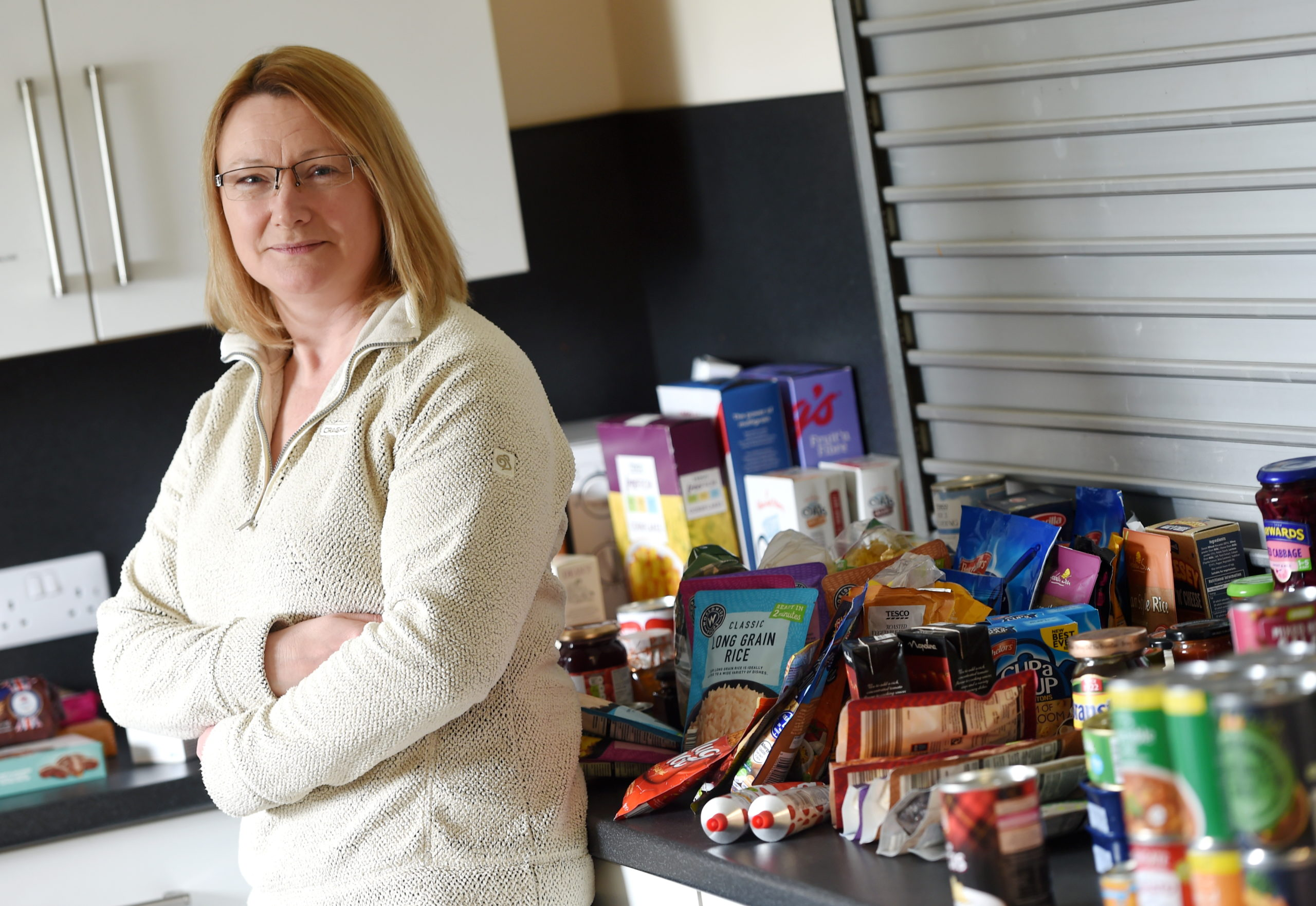 Brenda Dunthorne, Kirkhill Community Centre treasurer at the new Community Cupboard in the community centre, their response to Covid crisis. Picture by Sandy McCook.