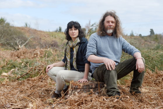 Tony Davidson and Kapka Kassabova are concerned about the cutting of Balblair Wood to form a quarry. Picture by Sandy McCook.