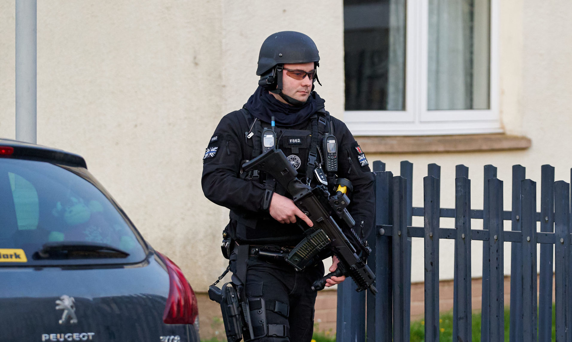 Police in Findhorn Court, South Lesmurdie, Elgin.