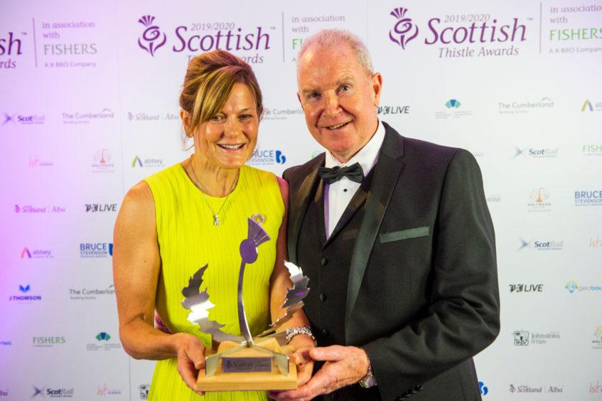 Sarah Heward with her husband and business partner Alan McColm winning the Thistle Award 2020 for Best Informal Eating venue