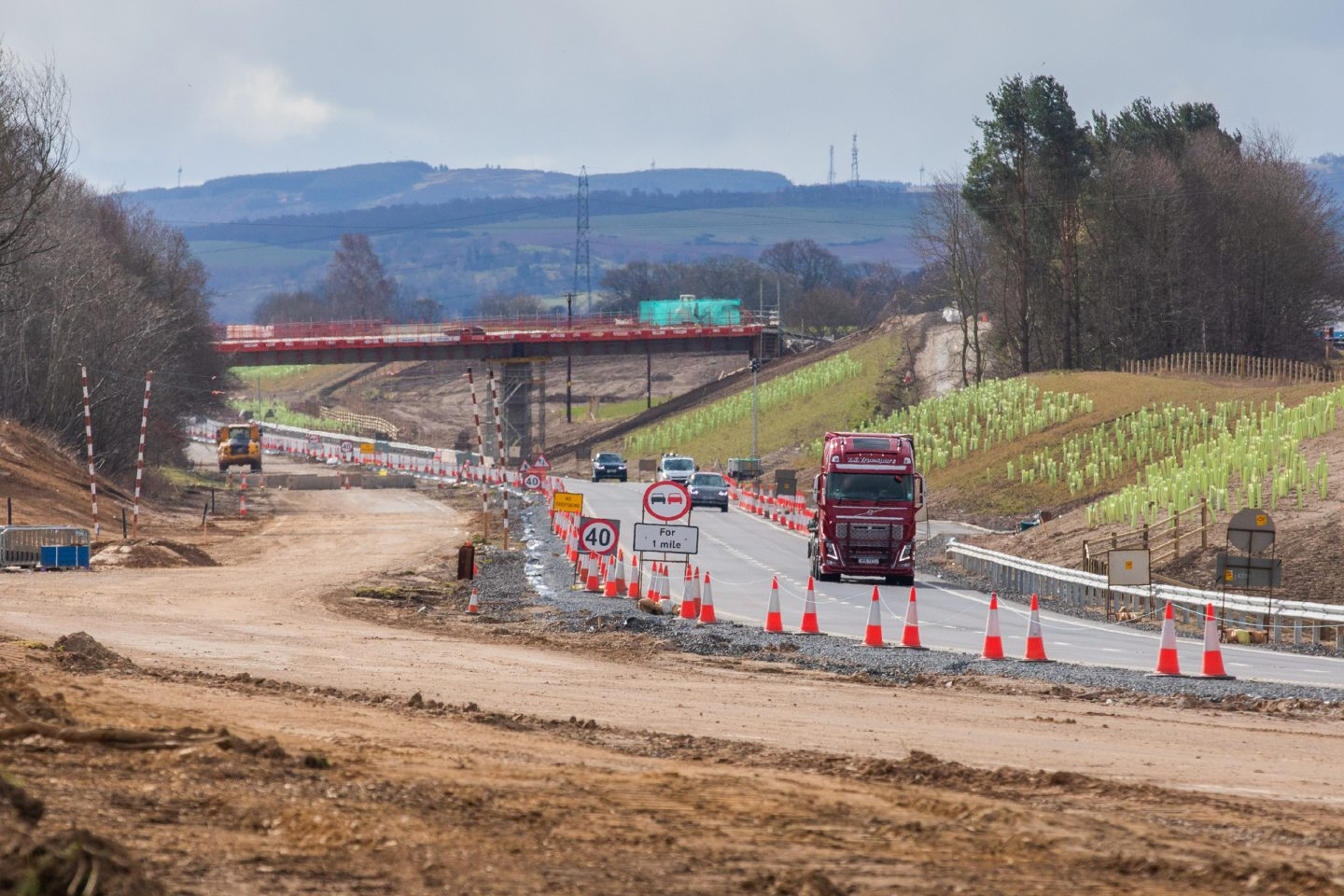 The scene near the Stanley/Bankfoot junction of the A9.