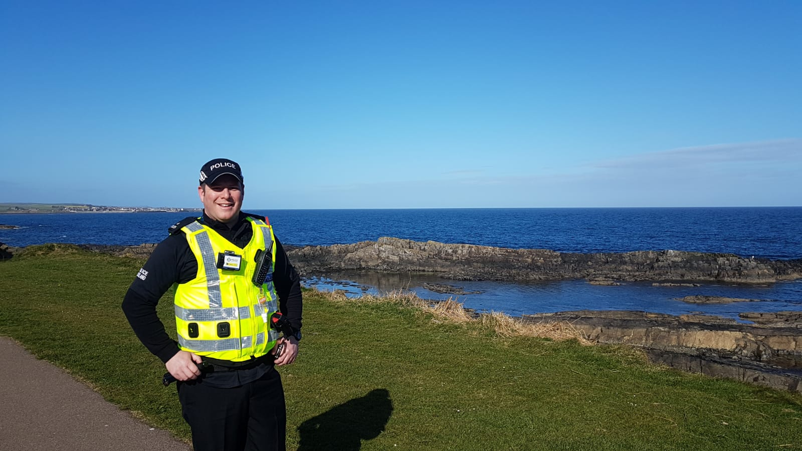 Special constable Kevin Bruce on foot patrol in Fraserburgh