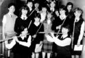 Angela Stone, front left, and Angela Young, joint winners of the 15-and-under flute section, with other participants of the 1983 Aberdeen and North East of Scotland Music Festival.