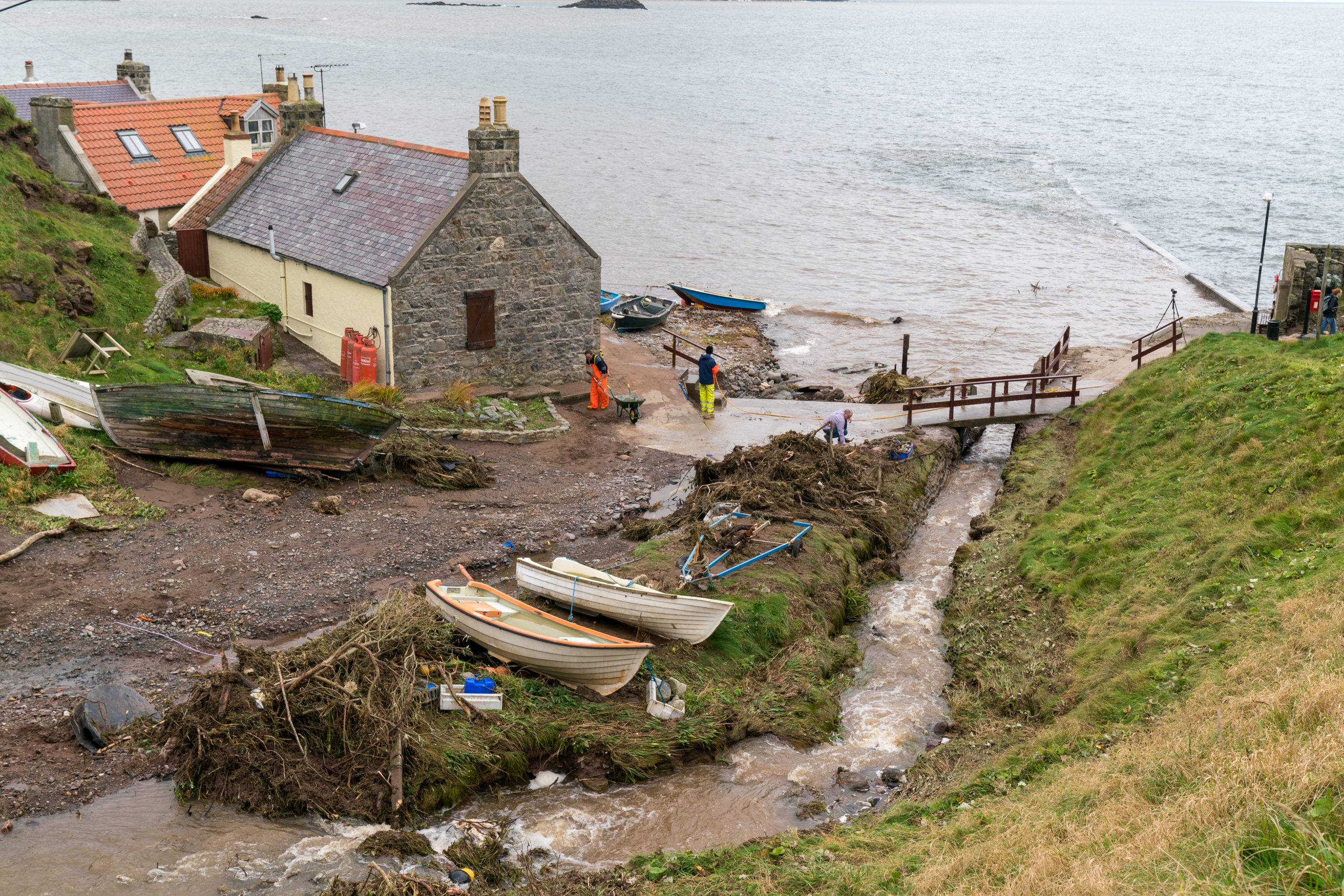 Aftermath of flash flooding in Crovie, Aberdeenshire.