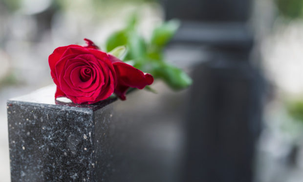 A funeral headstone grave