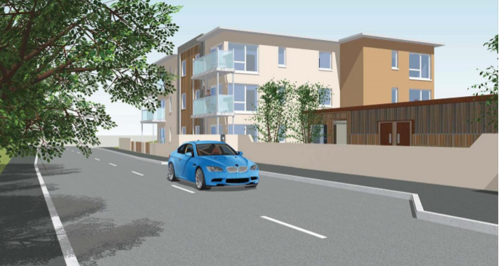 View from South Road, travelling into Ellon, of the proposed flats