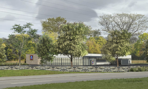 An artist's impression of the proposed Aldi store in Aberdeen, as it would be seen from Countesswells Road.