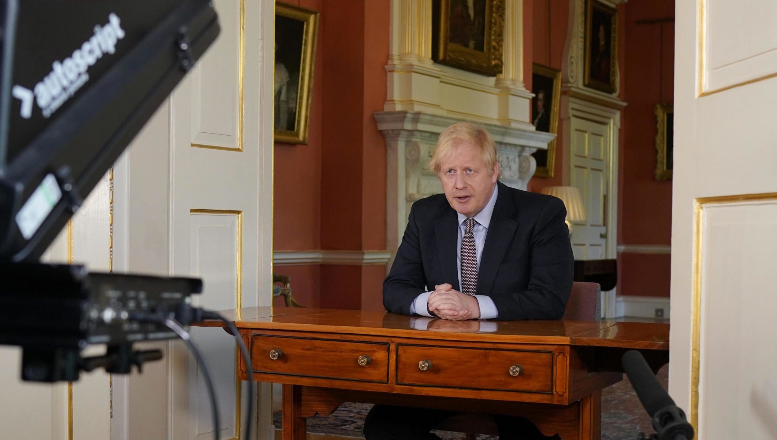Boris Johnson filming his address to the nation from 10 Downing Street.