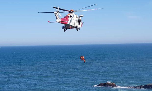 The coastguard rescue operation at Slains Castle