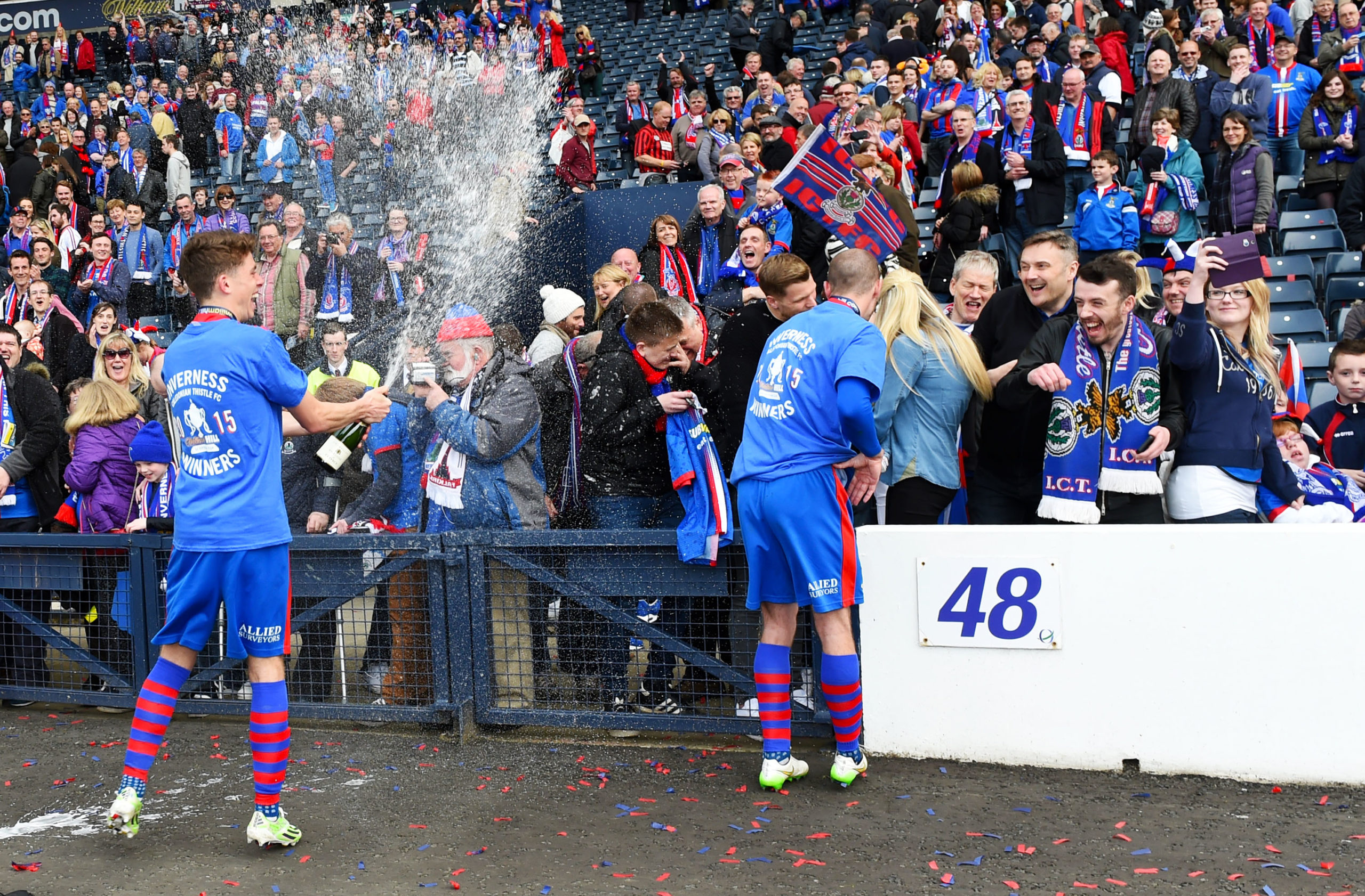 Inverness CT's Ryan Christie (left) and James Vincent celebrate with the fans