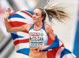 Great Britan's Eilish McColgan celebrates winnong silver in the women's 5000m final during day six of the 2018 European Athletics Championships at the Olympic Stadium, Berlin. She has featured on the Tartan Running Shorts podcast.