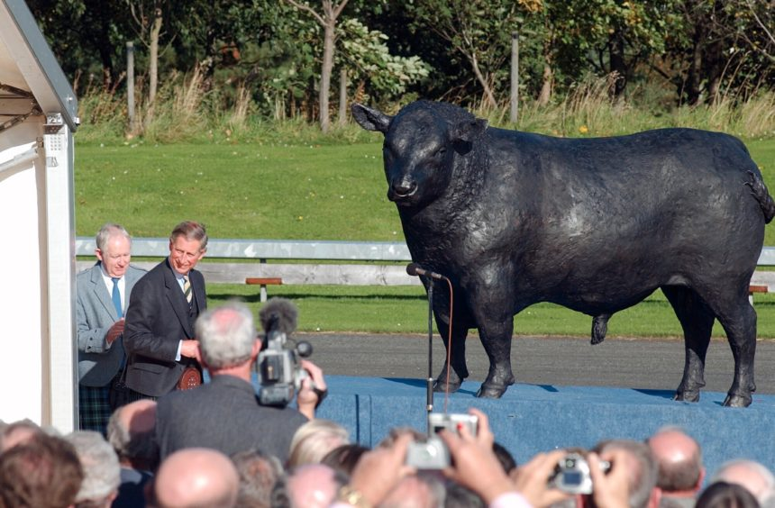 Prince Charles unveiling the bull