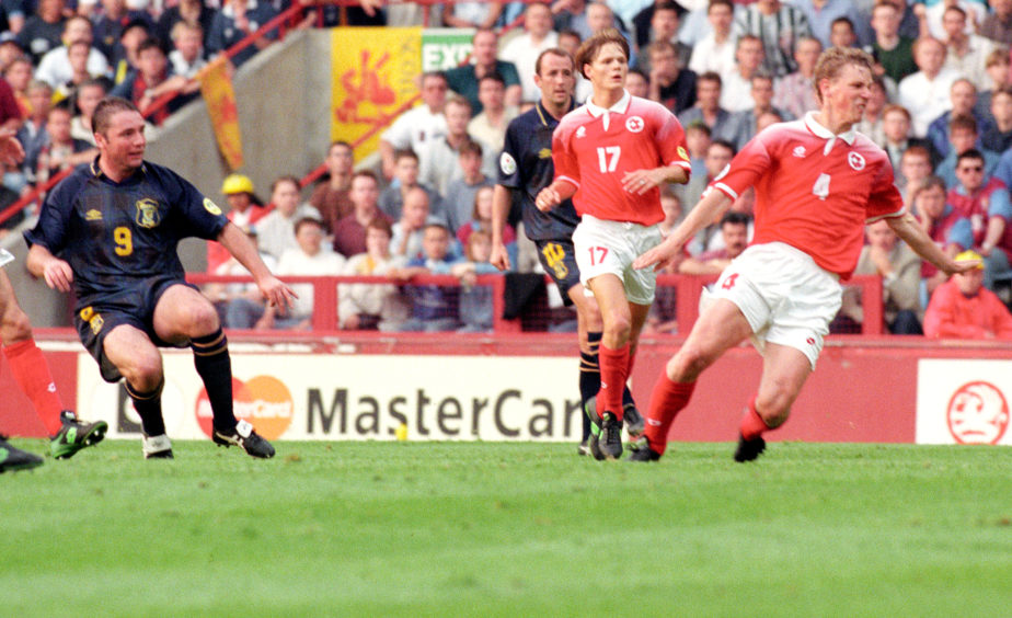 Ally McCoist gives Scotland the lead in their final game against Switzerland.