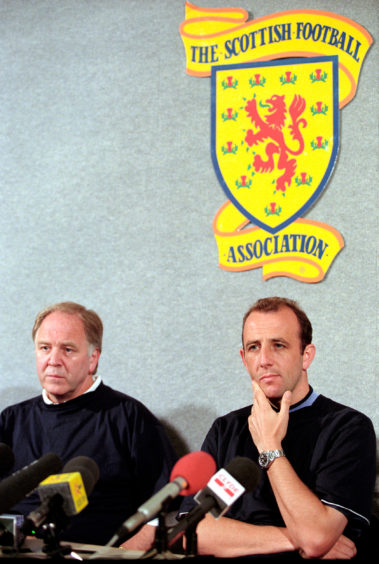 Scotland manager Craig Brown (left) with team captain Gary McAllister during Euro 96 press conference