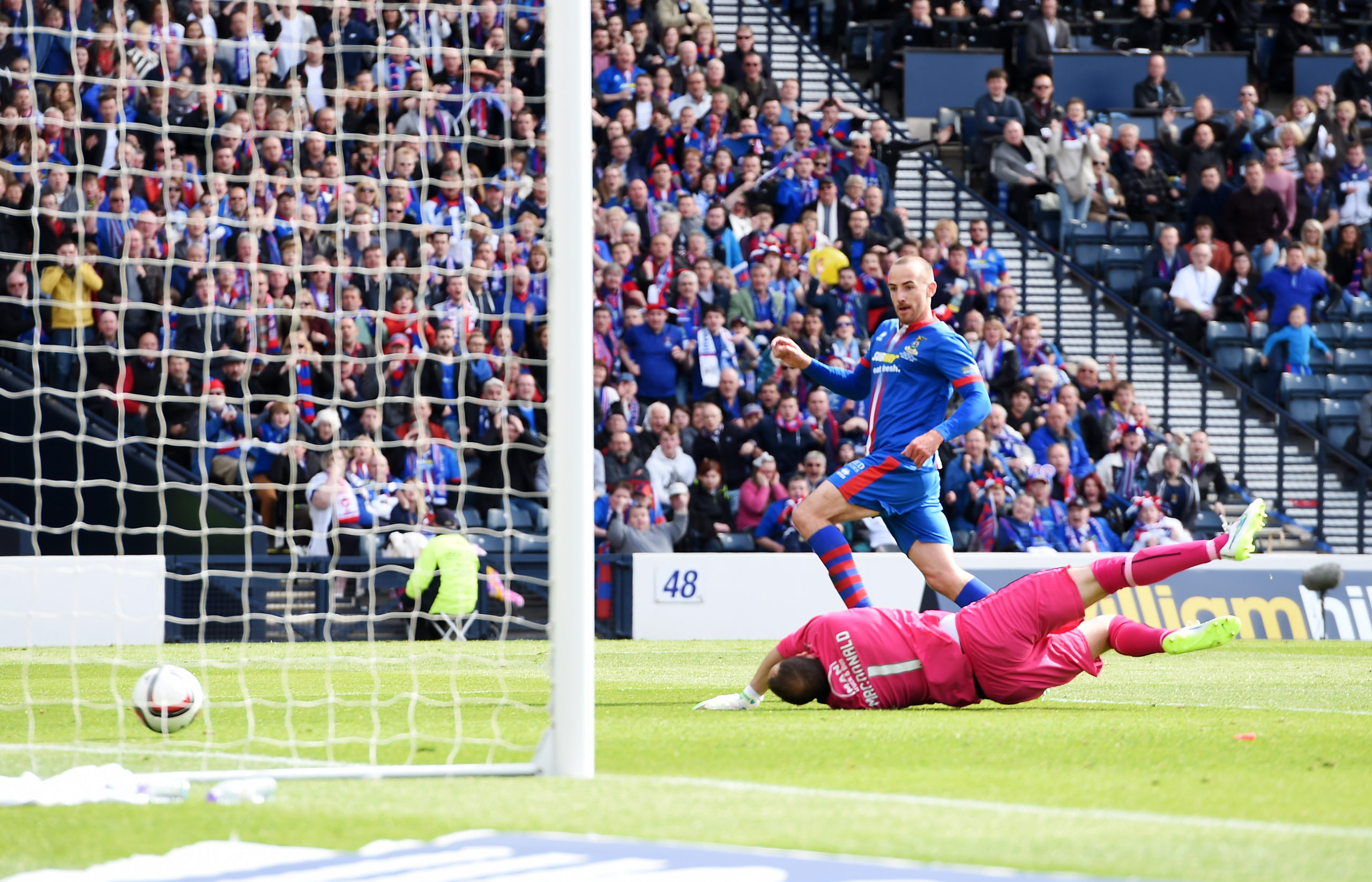 James Vincent slides home the goal that won Caley Thistle the Scottish Cup