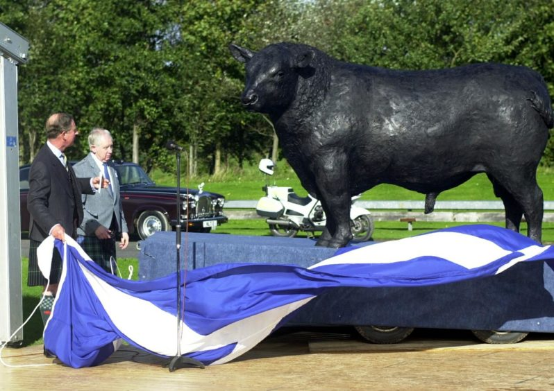 The statue had been draped in a Saltire flag