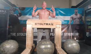 Tom Stoltman securing his second world record on Saturday.