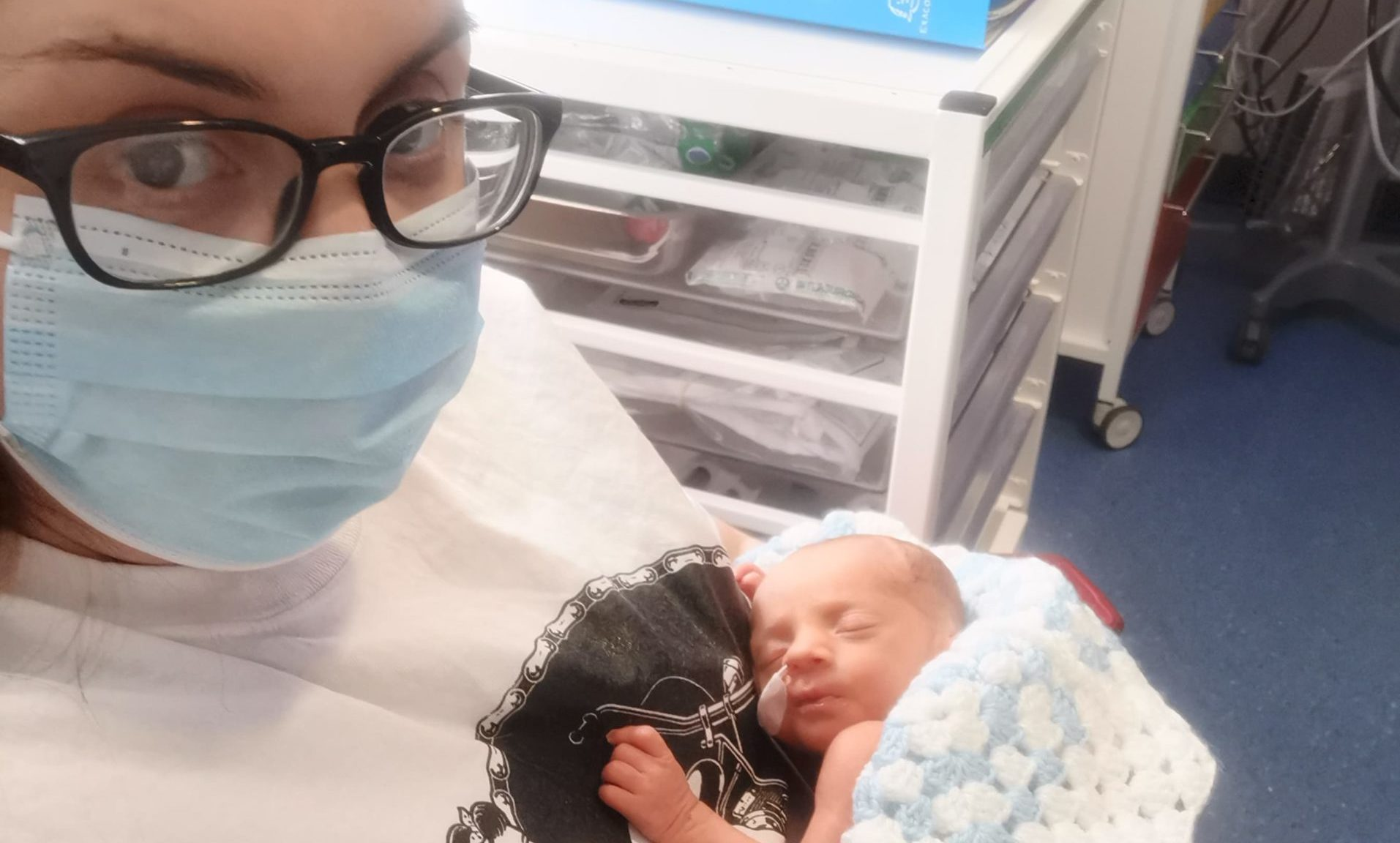 Cher Gaitens with baby William, whose arrival eight weeks early took his proud parents by surprise
