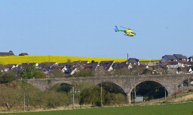 The SCAA air ambulance in Ellon.