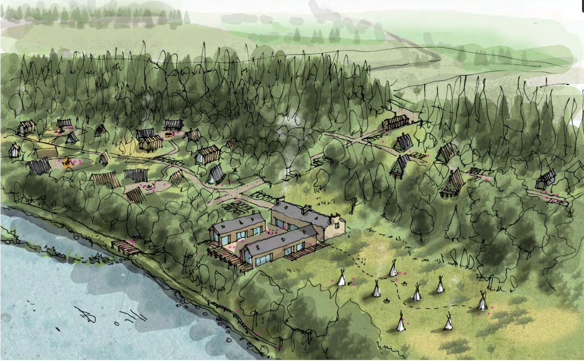 A visualisation of a woodland holiday complex on the Gloag estate near Beauly.