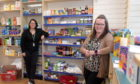 L-R: Julie-Ann Whyte and Kelly Morrison  have opened a Covid-19 community support shop in the New Pitsligo, Picture by Kath Flannery.