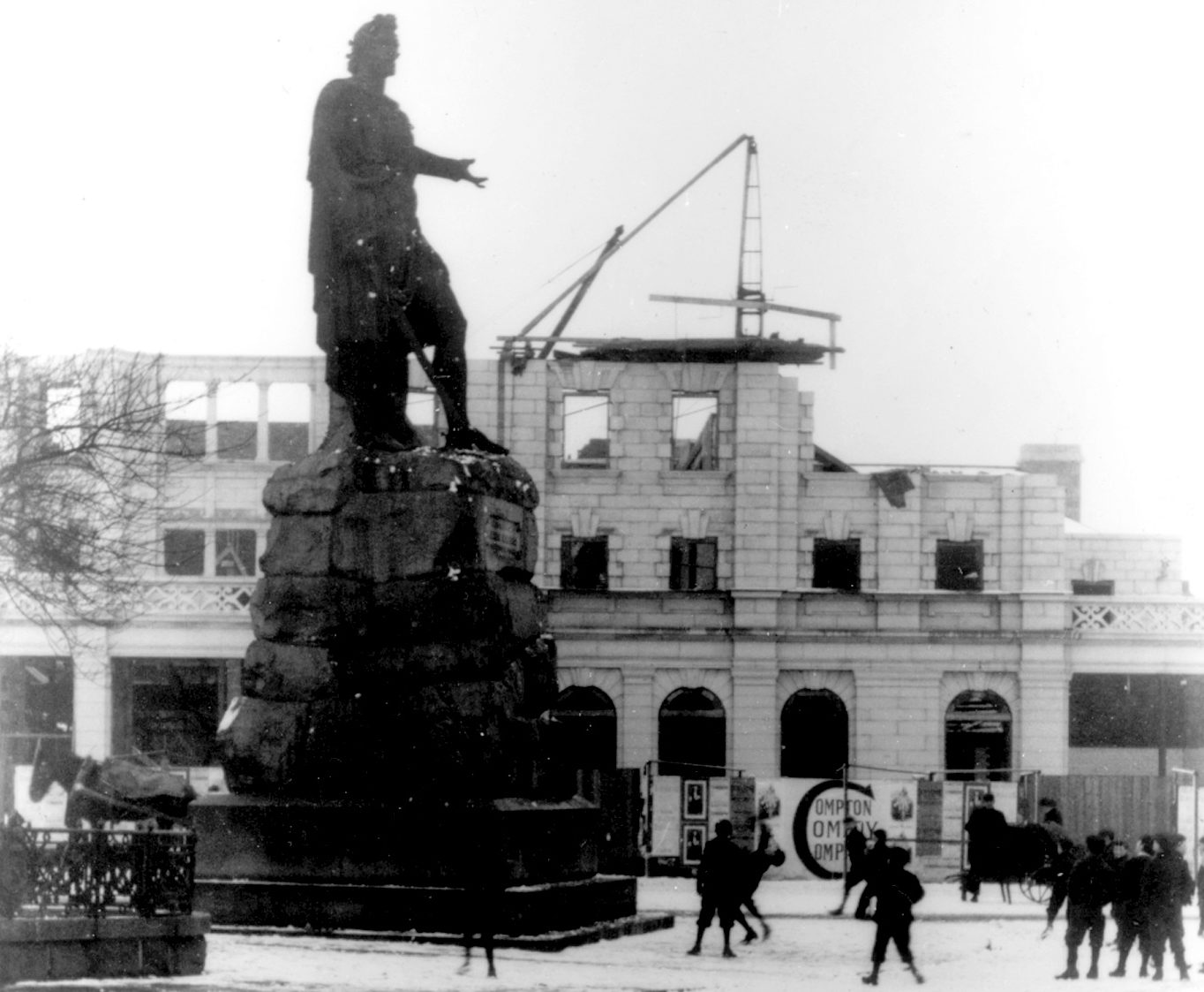 Setting the stage in a photo from the early 1900s as His Majesty's Theatre is being built.