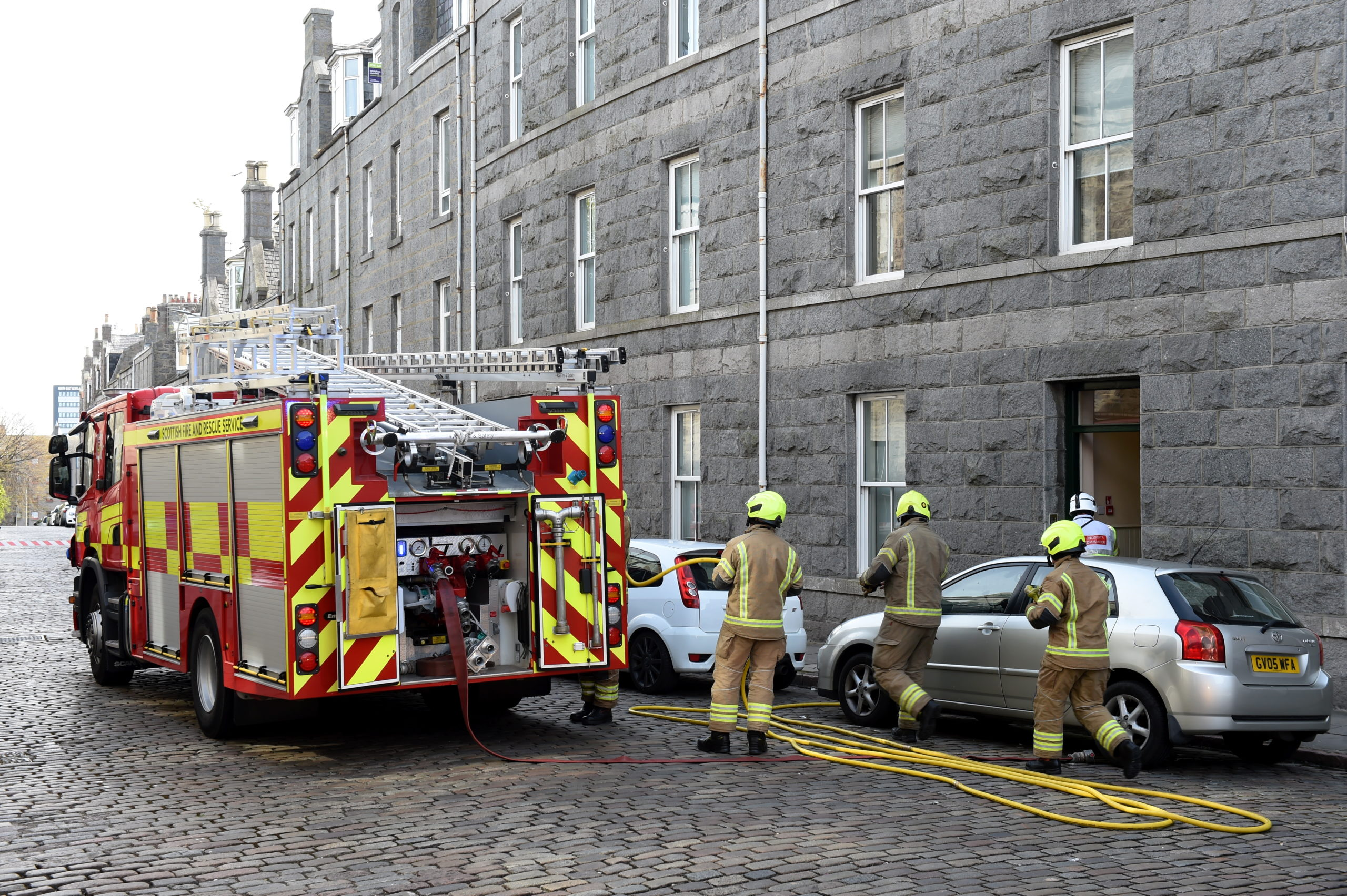 Scottish Fire and Rescue Service at the scene of a fire on Baker Street, Rosemount, Aberdeen. Picture by Kenny Elrick