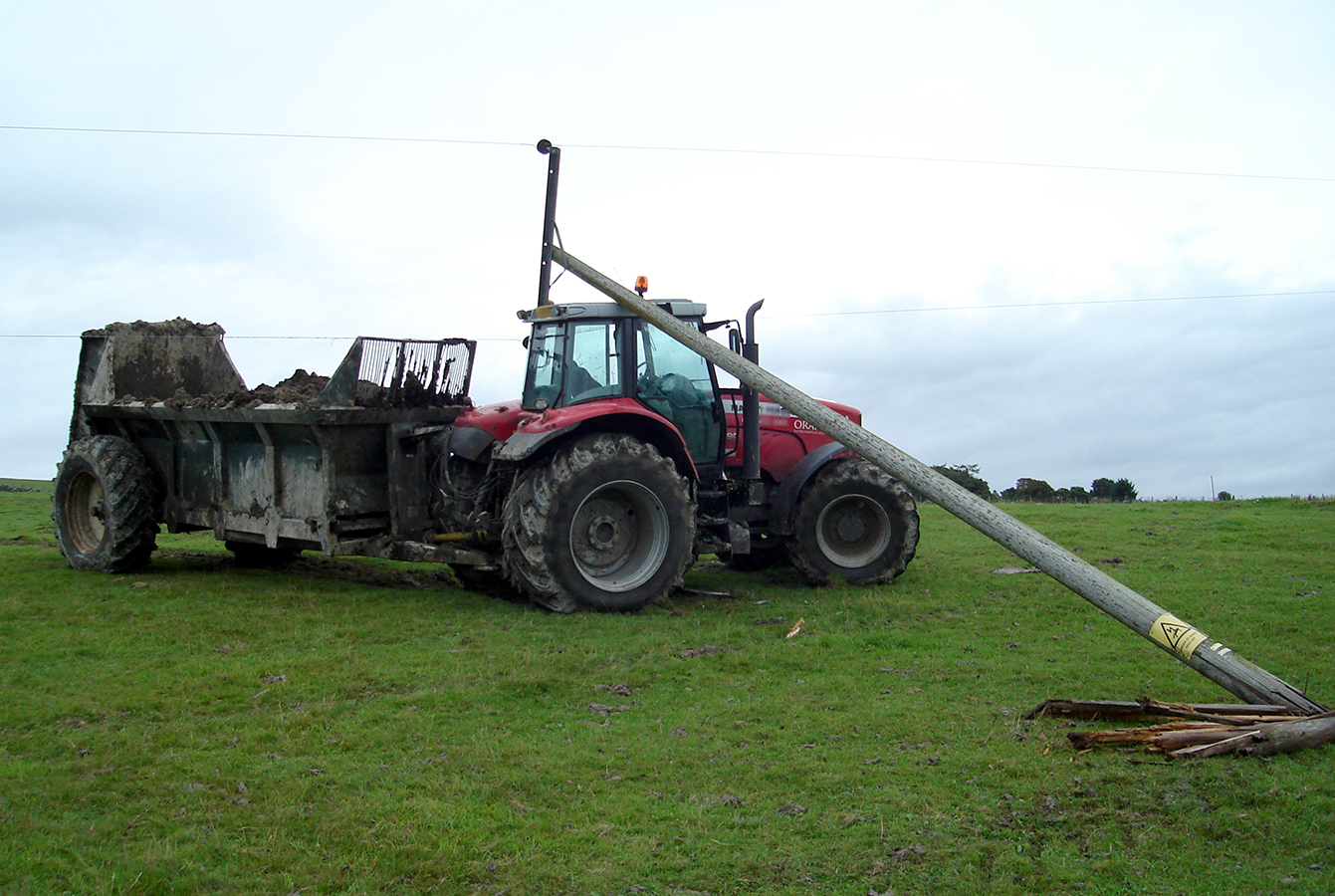 Farmers are being reminded of the dangers when working near overhead power lines and poles.