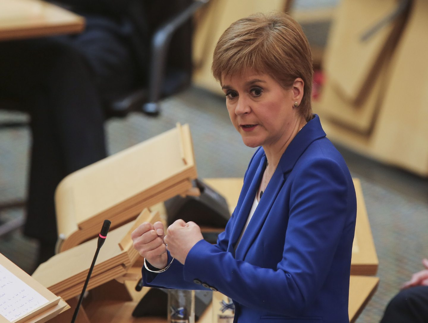 First Minister Nicola Sturgeon during First Minister's Questions held at the Scottish Parliament.
