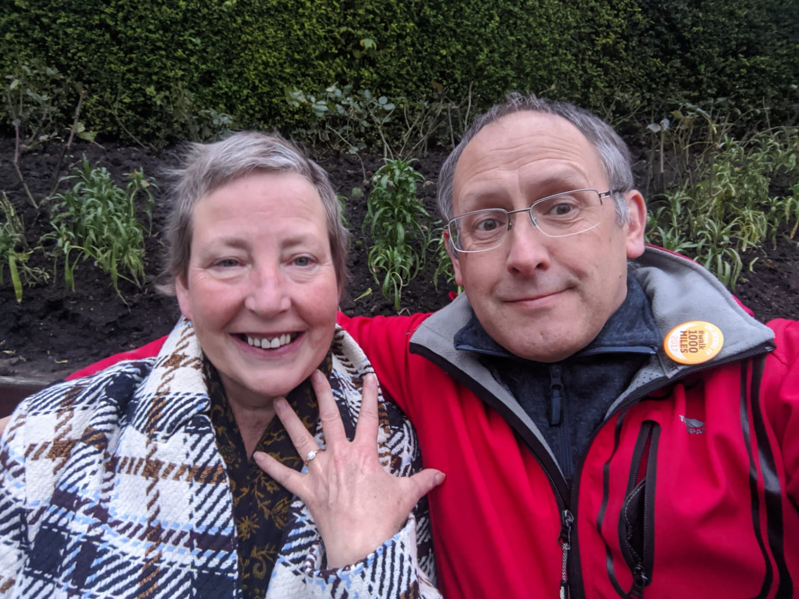 Sarah Ambler and Ian Pegg when they became engaged in November.