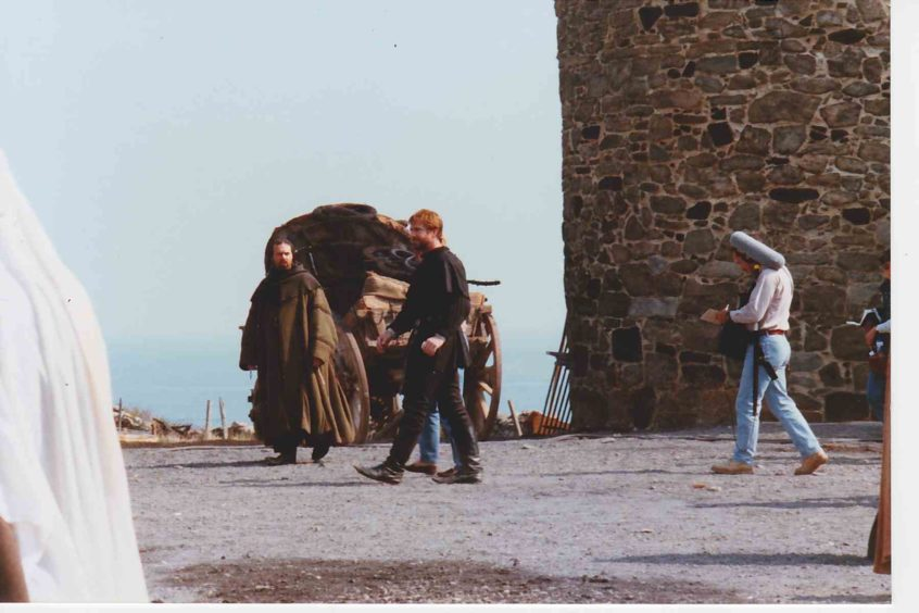 Mel Gibson on the set of Hamlet that was filmed at Dunnottar Castle and Muchalls.