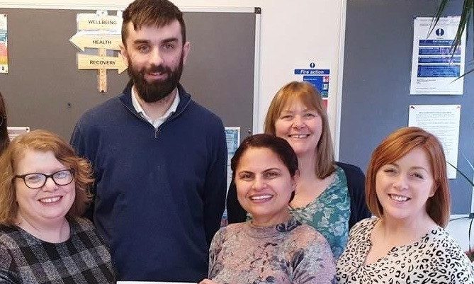 Members of the team at Elgin Mental Health and Wellness Centre: Karen Dunnett, Martyn Beaton, Sharanjit Dhesi, Sue Bates-Elton and Pauline Forbes.