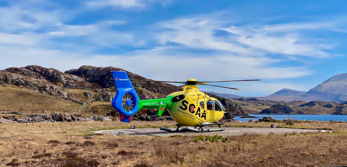 SCAAs Helimed 79 in Kinlochbervie, Sutherland, on April 22