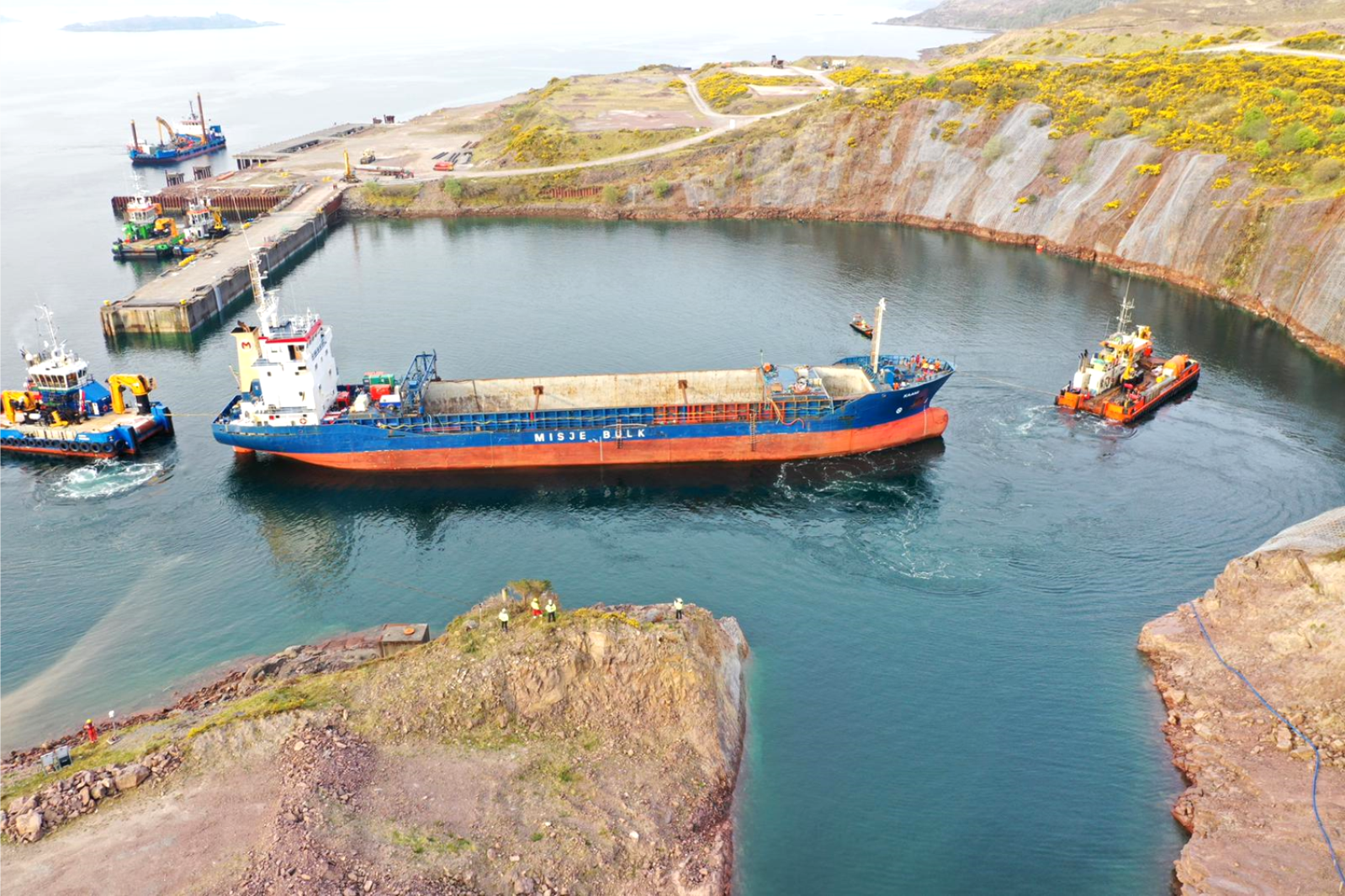 The MV Kaami docking in Kishorn after being taken under tow from The Minch