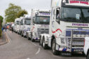 Lorry drivers drive past Raigmore Hospitail in Inverness to show their support for the NHS staff and other key workers.