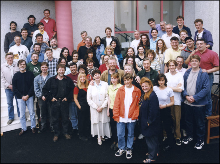 """The cast and crew of """"Machair"""" on the Western Isles."""