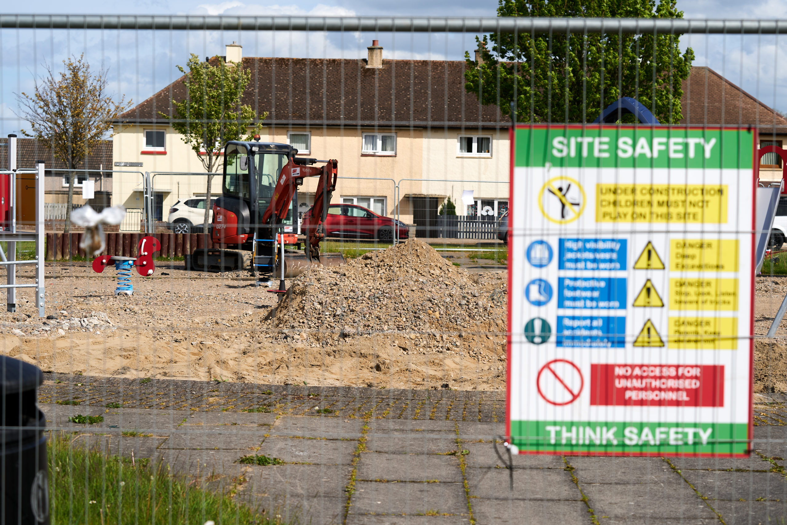 Construction work is underway at the playground at Nelson Square in Elgin.