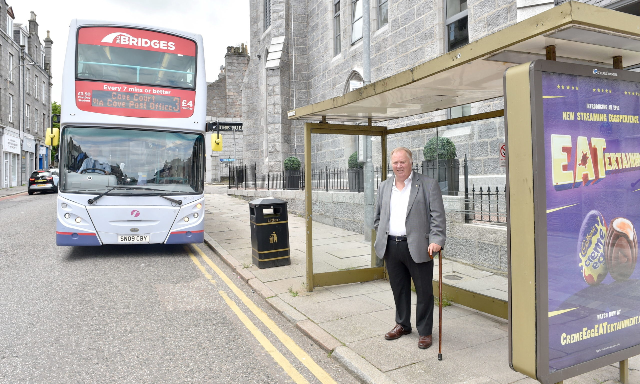 Bill Cormie at the bus stop in Rosemount Place.