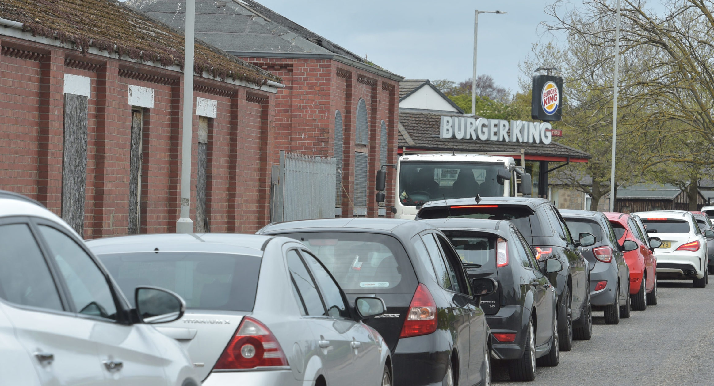 The scene in Elgin when Burger King reopened during lockdown. Pictures and video by Jason Hedges.