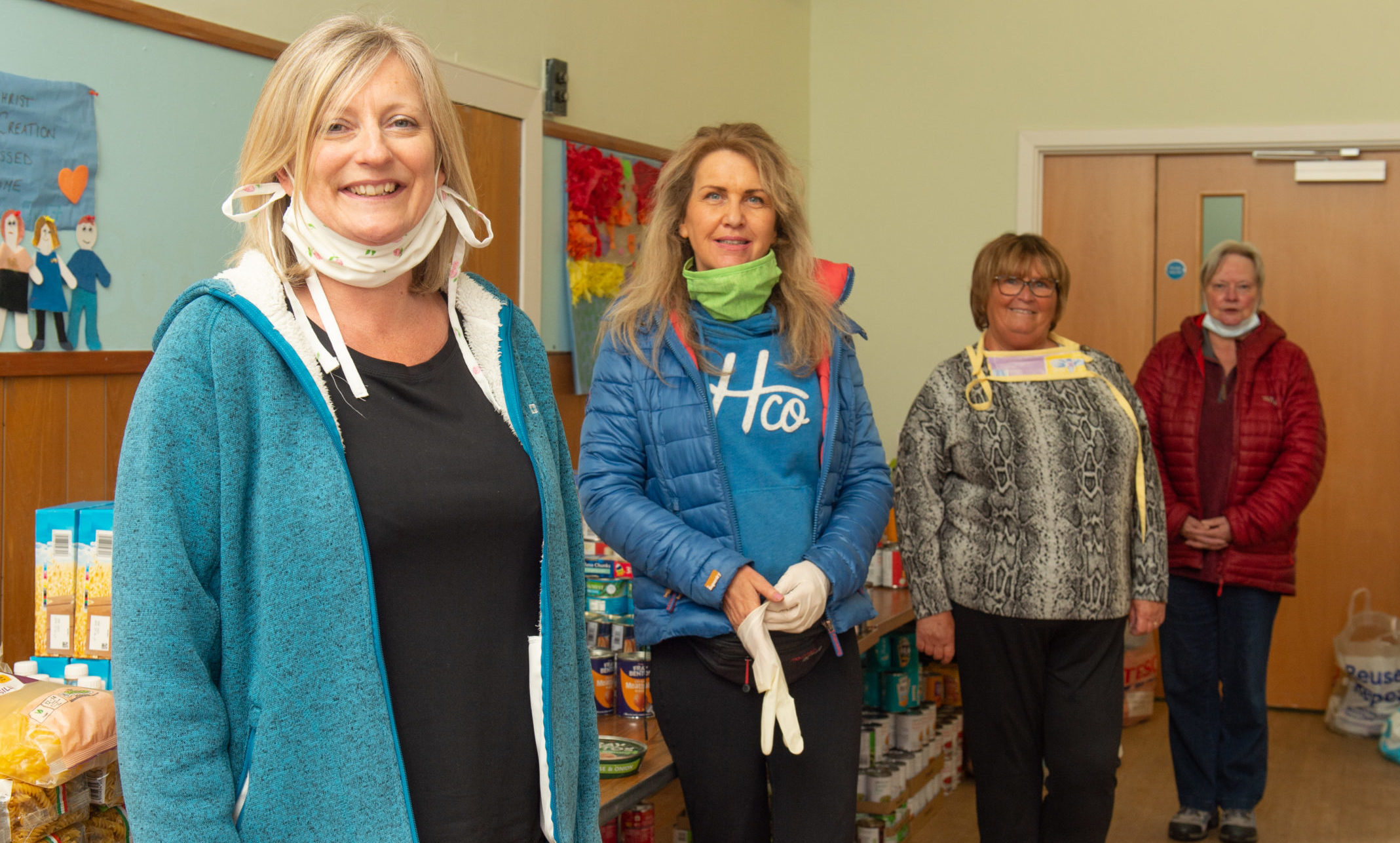 L2R Kate Wakeford (Childrens and family worker at Lossiemouth Baptist Church and from Lossiemouth Community Council  Carolle Ralph, Mo Garden, Gina McNicoll  Picture by Jason Hedges.