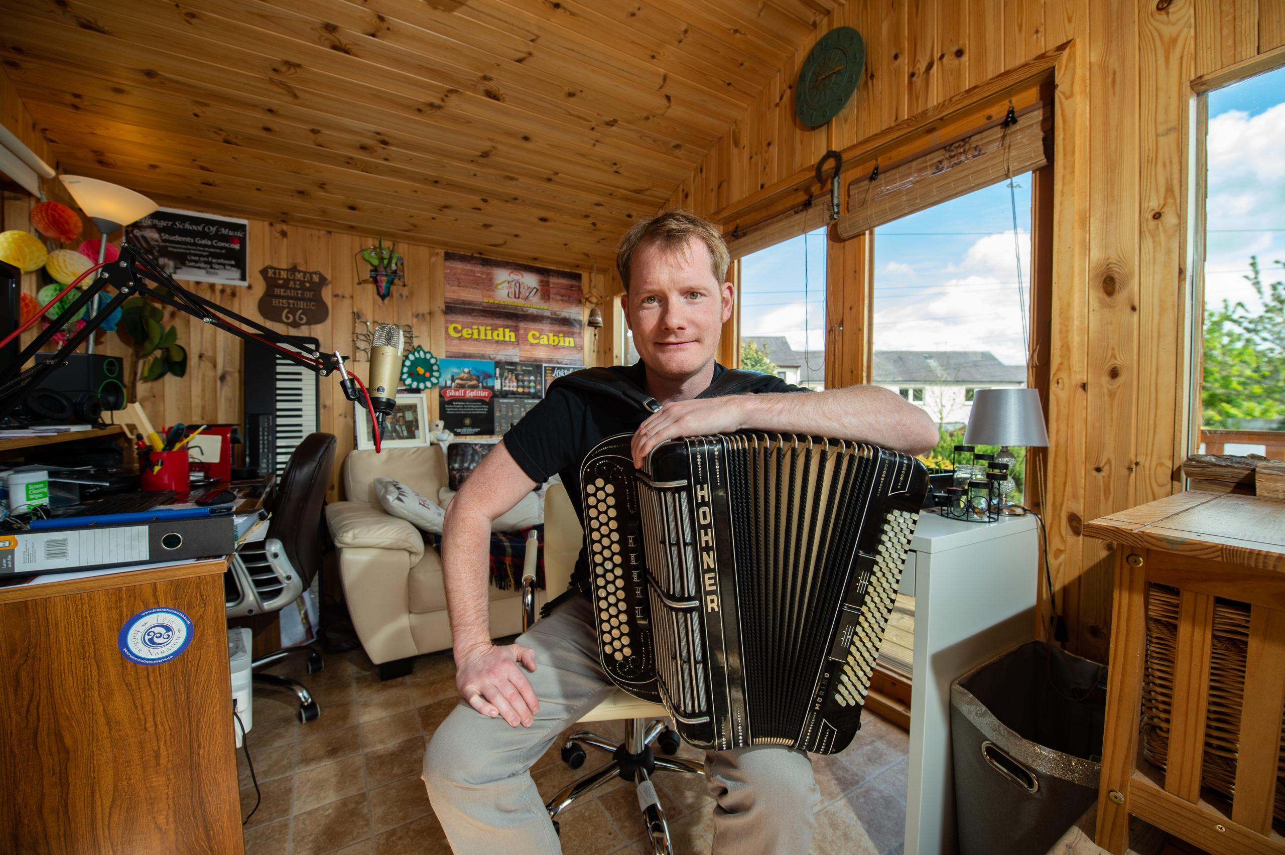 Graeme Mackay in his ceilidh cabin.