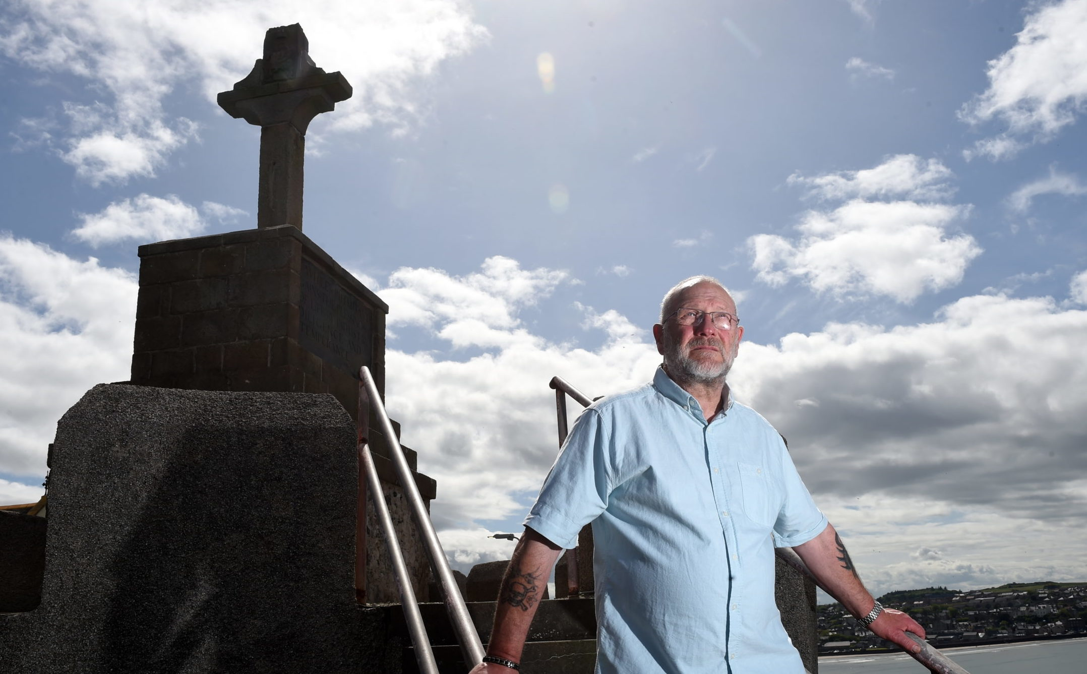 Richard Menard at Macduff Cross.  Picture by Kenny Elrick