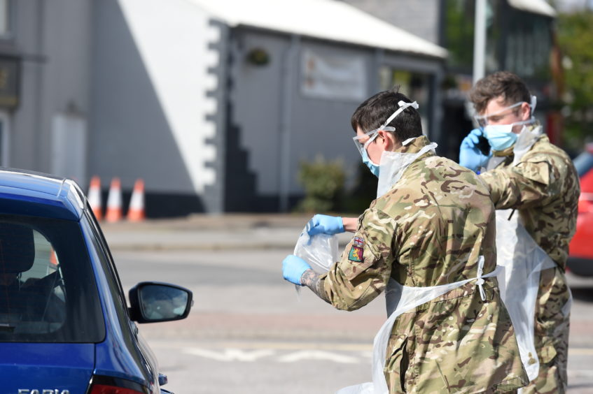 The Royal Scots Dragoon Guards set up a 'pop up' Covid 19 test station in Banchory car park earlier this month.