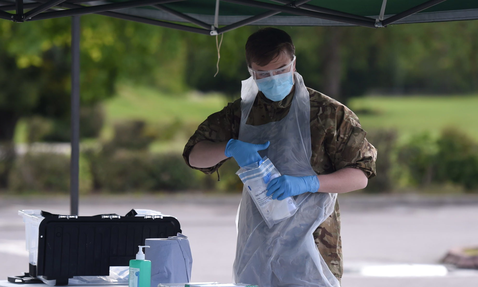 Coronavirus testing at Banchory, Aberdeenshire.