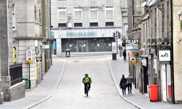 Aberdeen city centre during lockdown. Picture by Scott Baxter