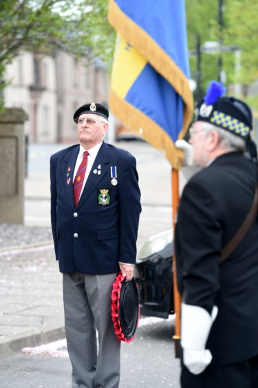 Beauly and District Royal British Legion Scotland (RBLS) yesterday held a very short service of remembrance on the 75th anniversary of VE Day in 1945. Picture by Sandy McCook