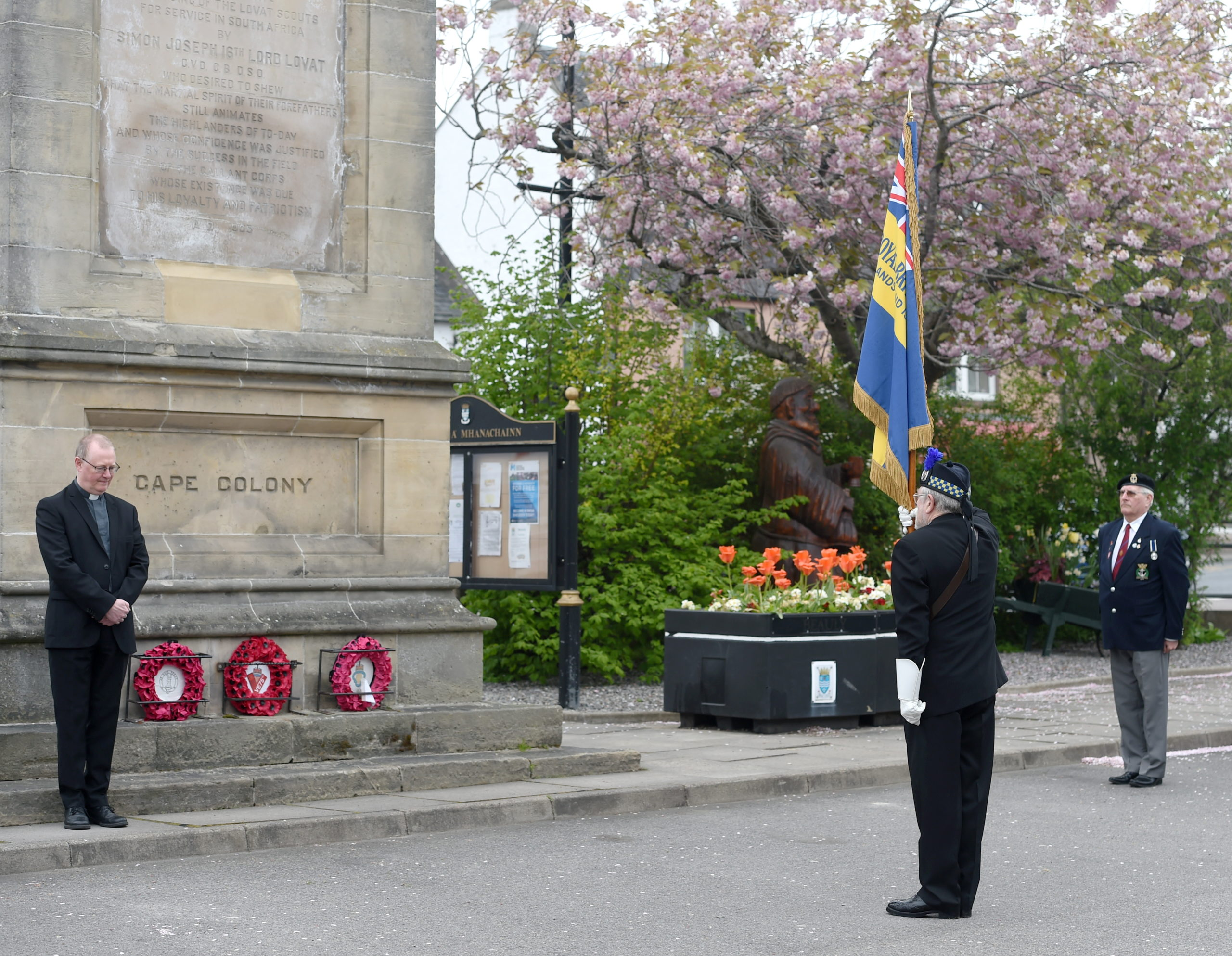 Beauly and District Royal British Legion Scotland (RBLS) yesterday held a very short service of remembrance on the 75th anniversary of VE Day in 1945. (L-R) Rev. Ian Manson, Bob Coburn Branch Chairman and Trevor Carnall Vice chairman who laid the wreath. Picture by Sandy McCook
