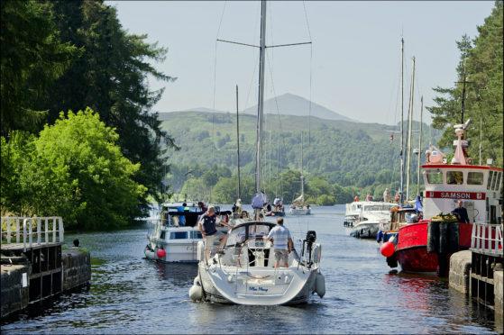Pleasure yachts at Kytra Caledonian Canal